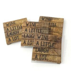 Rustic Farmhouse Drink Coasters set/4 Wood Wine